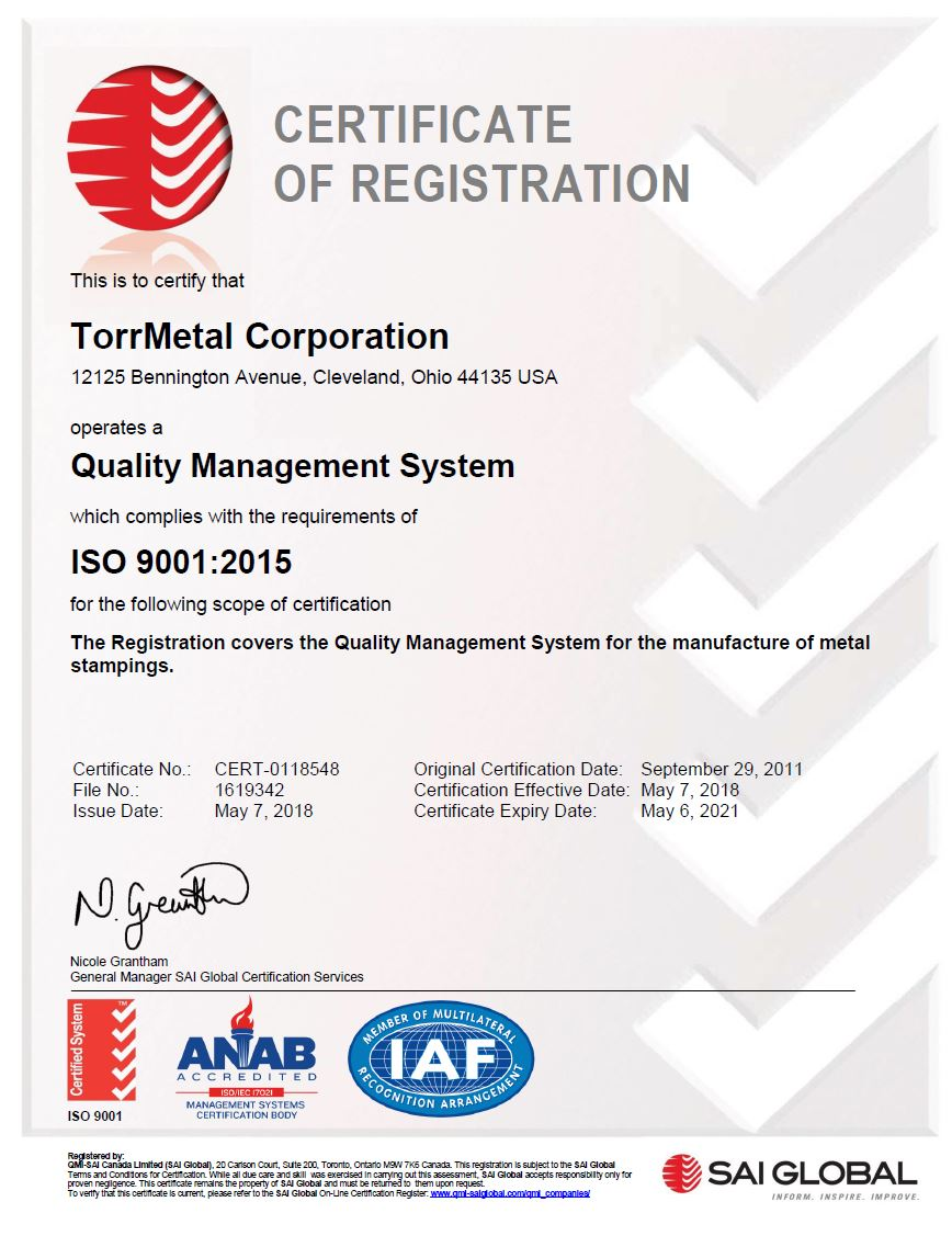 TorrMetal Corporation - ISO 9001:2015 Certification